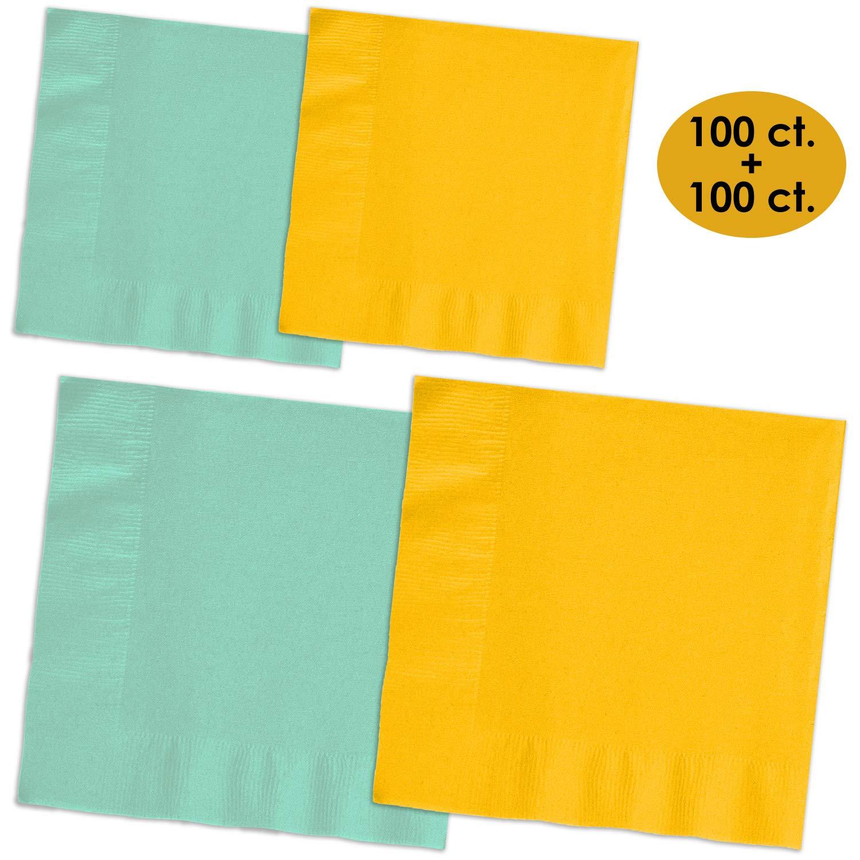 200 Napkins - Mint & Sunshine Yellow - 100 Beverage Napkins + 100 Luncheon Napkins, 2-Ply, 50 Per Color Per Type