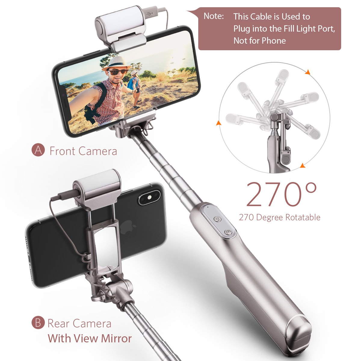Mpow Selfie Stick Bluetooth, with 360 Degree Led Fill Light and Rear Mirror, Adjustable Head & a Carrying Bag, Fits for iPhone X/8/8P/7/7P/6s/6P/5S/SE, Galaxy S6/S7/S8/A7, Huawei and More by Mpow (Image #4)