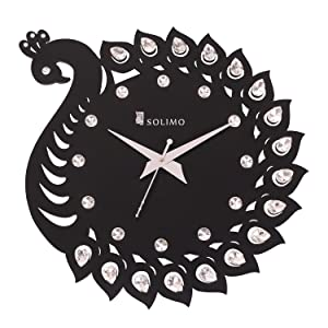 Amazon Brand - Solimo 11.25-inch Wooden Wall Clock - Elegant Peacock (Silent Movement, Black Frame)