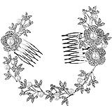 Tinksky Boda nupcial pelo peine perla cristal accesorios flor hoja pelo Clip lado peinetón