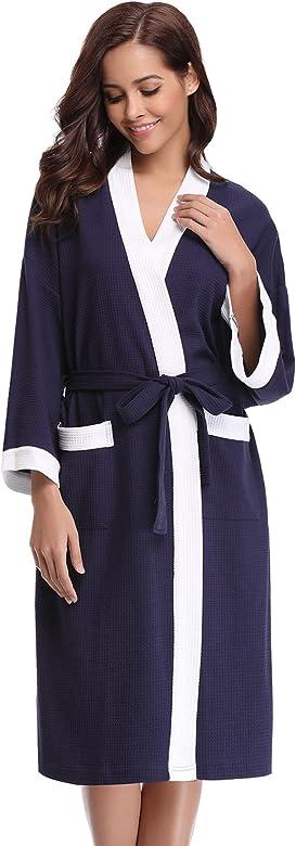 Aibrou Unisex Albornoz Mujer Hombre Primavera Verano Batas y Kimonos Invierno con Cintur/ón Muy Suave C/ómodo Fino Ligero y Agradable para Hombre o Mujer