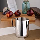 Professional Milk Frothing Pitcher with Measurements Stainless Steel Cappuccino Coffee Milk Frothing Jug for Espresso Machines Coffee Latte Art Baristas Silver-900ML