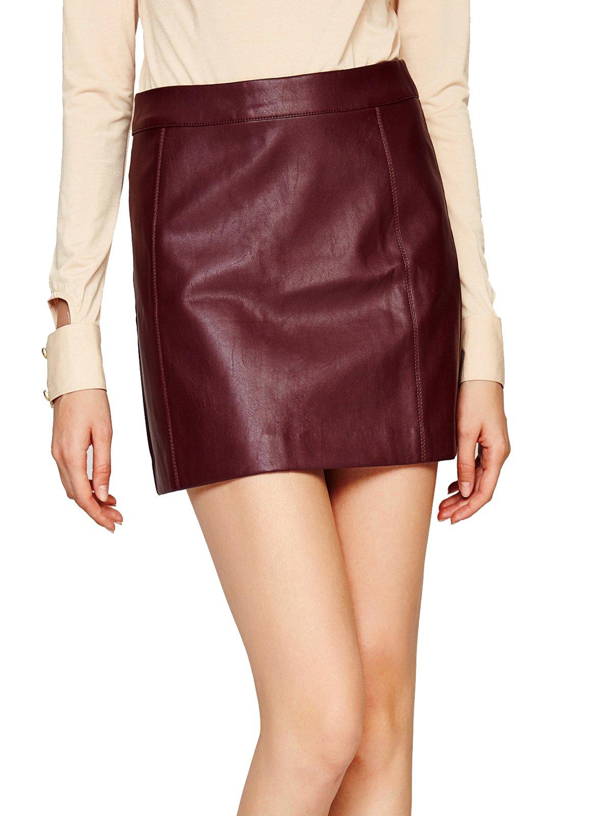 Escalier Women's PU Leather Skirt High Waist Back Zipper Mini A Line Skirts