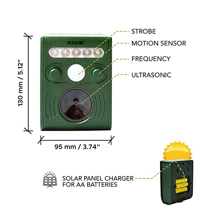 Amazon.com : Ultrasonic Pest Repeller Outdoor Solar Powered, Strong LED Flash Light & Speaker with 5 Model Frequency for repelling mice and Foxes, ...