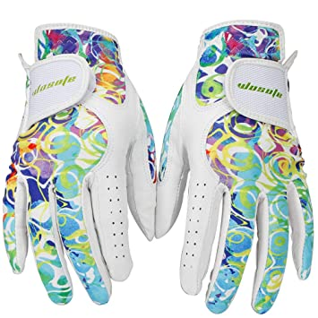 check out sells on feet at wosofe Golf Gloves for Women Soft Leather Accessories Breathable for Non  Slip Gloves 1 Pair