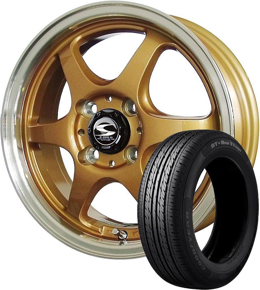 14インチ 1本セット サマータイヤホイール GOODYEAR(グッドイヤー) GT-エコステージ 155/65R14 75S + エスホールド シュトルツ ゴールド/リムポリッシュ B07B66S3KL