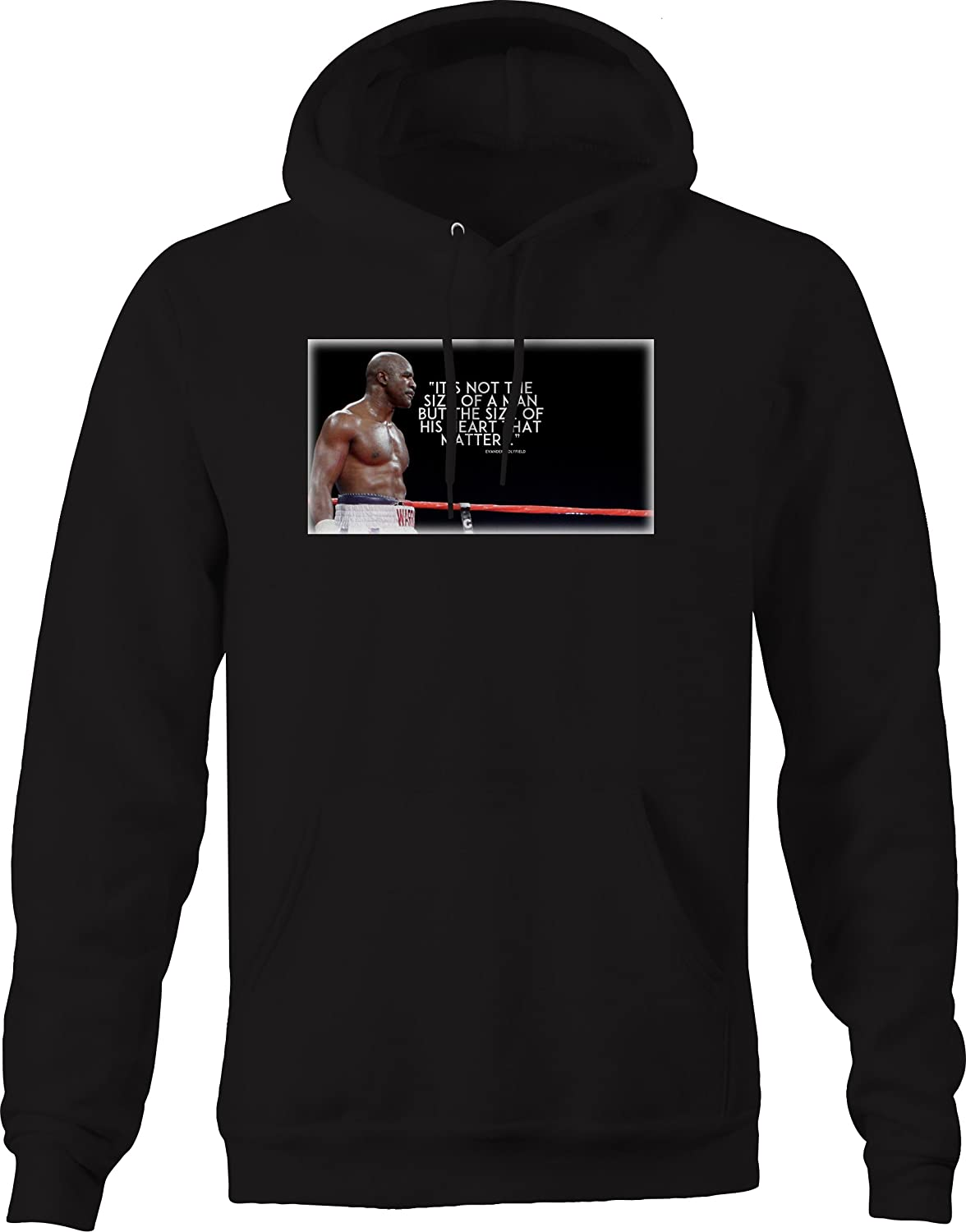 Bold Imprints Quote Holyfield Boxing Size of The Man Heart Matters Graphic Hoodie for Men
