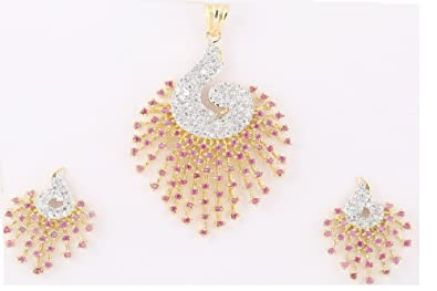 M Gold Red gold-plated Pendant Set For Women Pendants at amazon