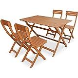 Alice's Garden - Table de jardin en bois 120x70cm - Leon - Table pliante rectangulaire en eucalyptus FSC avec 4 chaises pliables