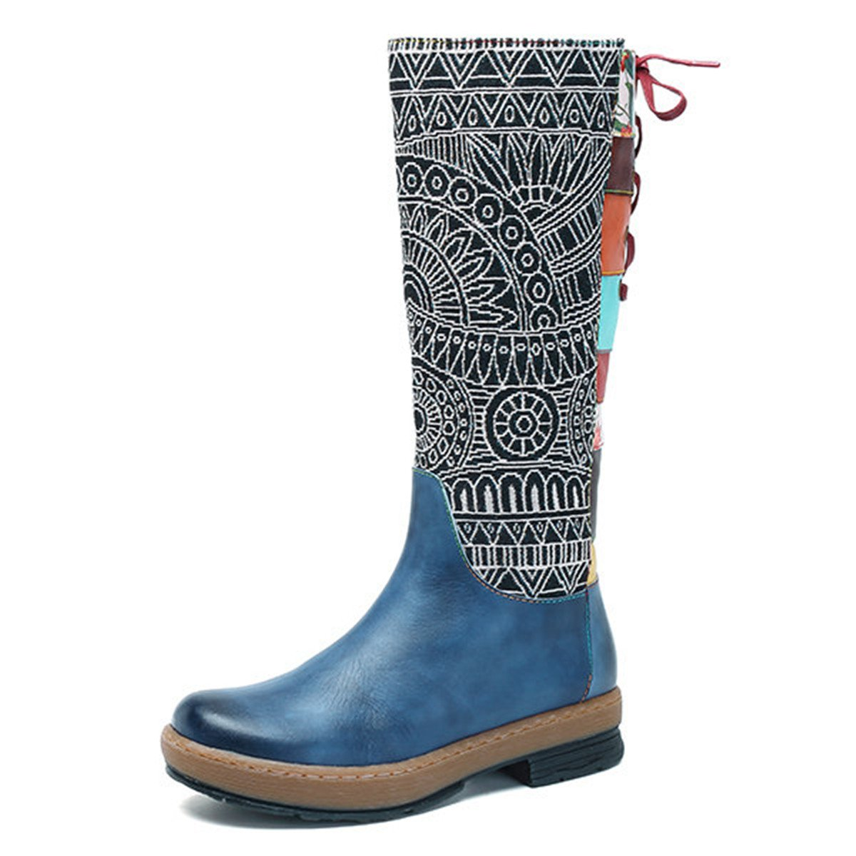 ae7786b929644 Amazon.com | socofy Leather Knee Boots, Women's Bohemian Splicing Pattern  Flat Knee High Boots | Knee-High