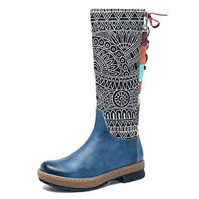 c94f35a3346a socofy Leather Knee Boots, Women's Bohemian Splicing Pattern Flat Knee High  Boots Navy 7 B