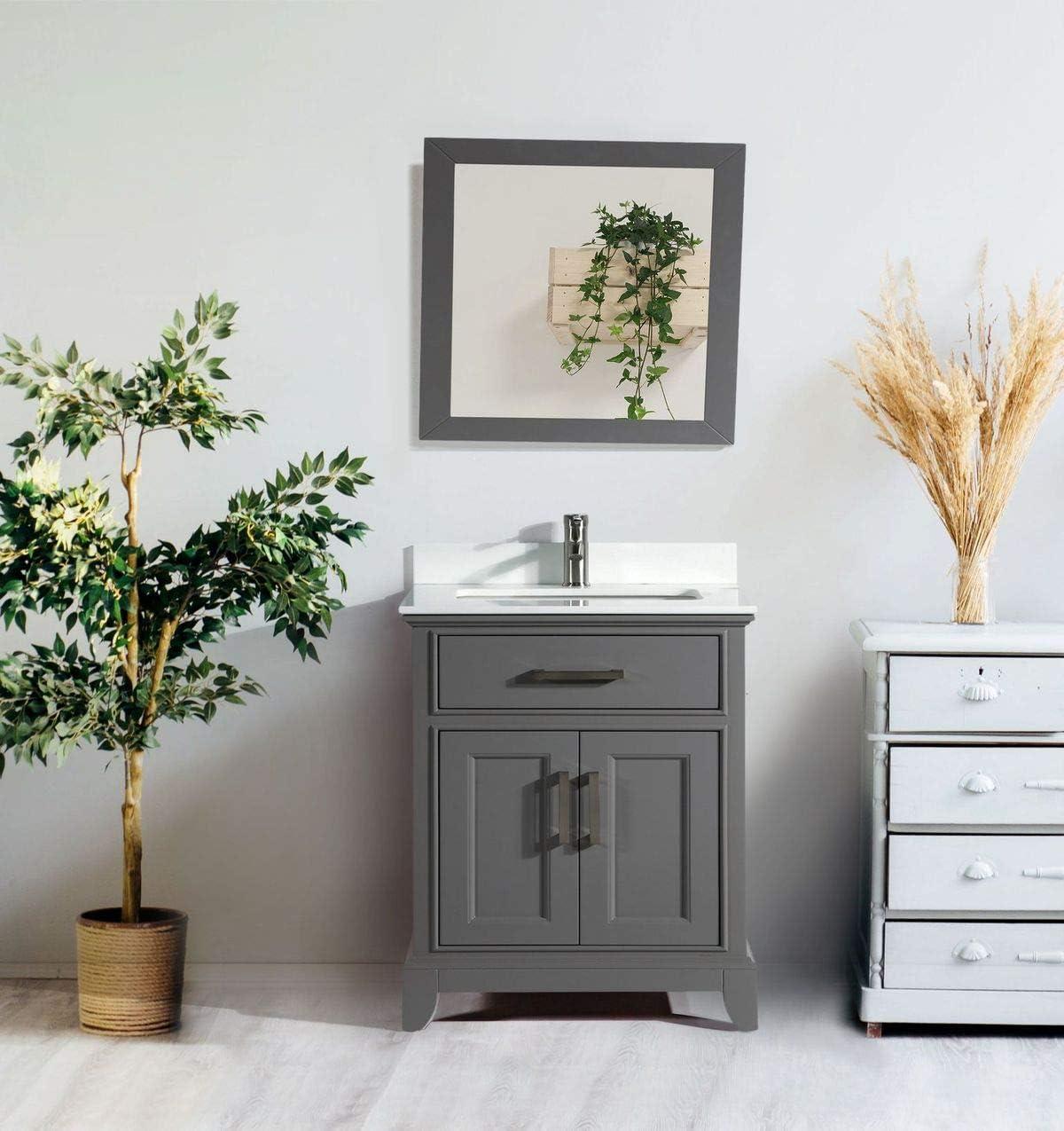 Vanity Art 30 Inches Single Sink Bathroom Vanity Set White Super Phoenix Stone Top 1 Drawer 1 Shelf Undermount Rectangle Sink Cabinet With Free Mirror Va1030 G Amazon Com