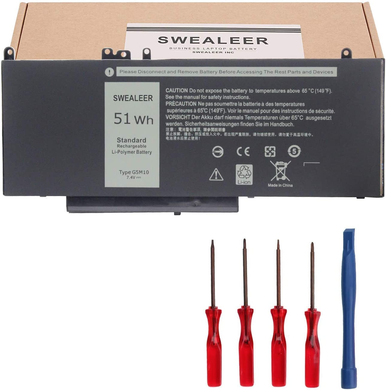 SWEALEER G5M10 Laptop Battery Compatible with Dell Latitude 14 E5450 Latitude 15 E5550 Latitude 12 E5250 Notebook Replacement for R0TMP RYXXH 8V5GX R9XM9 WYJC2 0WYJC2 1KY05 [7.4V 4Cell 51WH G5M10]