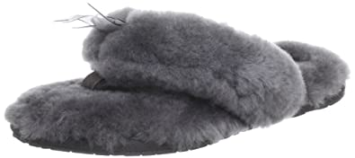 UGG Women's Fluff Flip Flop II Slip On Slipper, Men's flat shoes, Grey,