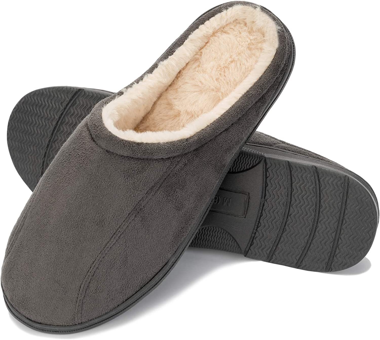 WFL Men's Comfort Memory Foam Slippers Home Shoes Warm Plush Lining for Indoor/Outdoor