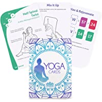 Yoga Cards | 63 Card Deck with Tips & Tricks as Well as Instructions | More Than 45 Essential Poses for Teaching Flexibility | Train, Meditate, and Relieve Stress with Easy to Follow Guides