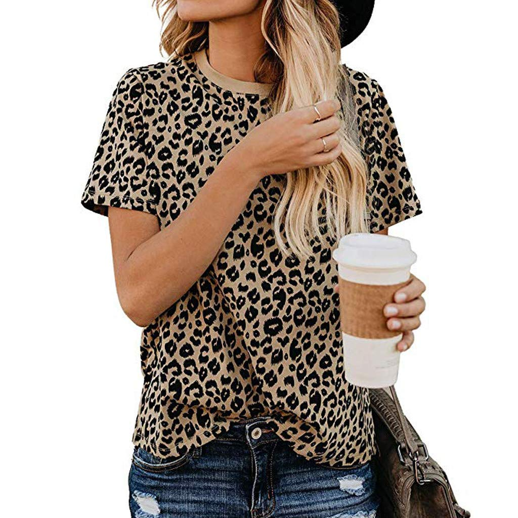 XVSSAA Women's Casual Cute Shirts Leopard Print Tops Basic Short Sleeve Round Neck Soft Blouse by XVSSAA