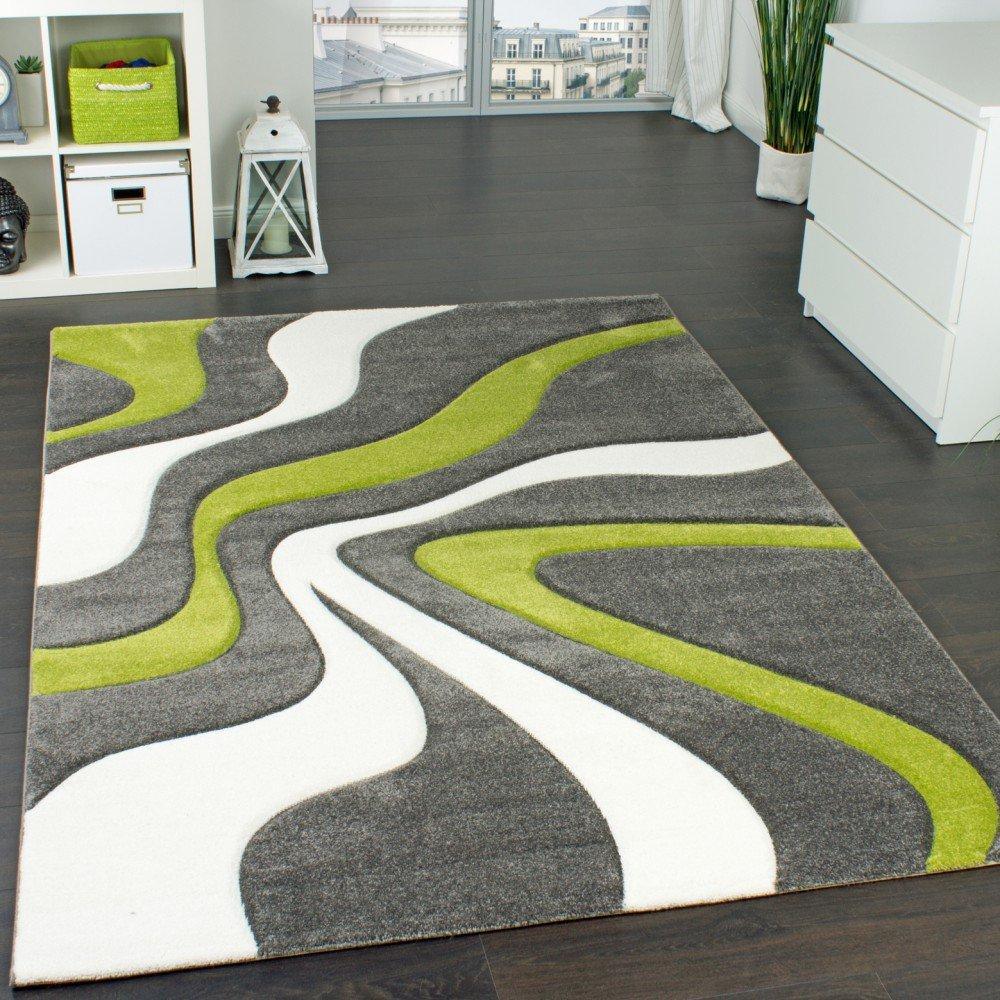 Tappeto Di Design Motivo Ondulato Orlo Lavorato Mano Colori Grigio Verde Crema, Dimensione:60x110 cm Paco Home