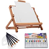 Falling in Art 23 Piece Acrylic Painting Set of 12 Colors with Adjustable Table Easel, Canvas Panels, Brushes, Palette…