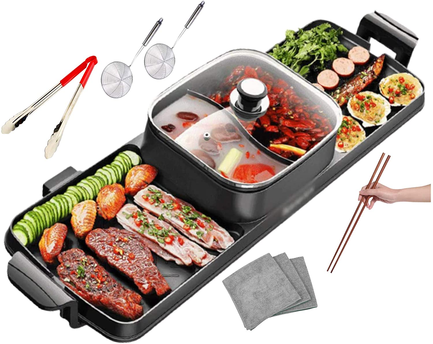 Electric Hot Pot Soup and Grill Combo with Divider