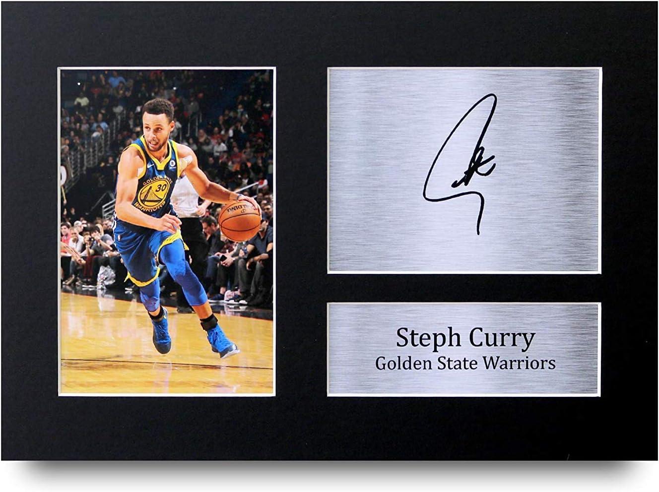 HWC Trading Stephen Steph Curry A4 Encadr/é Sign/é Image Autographe Imprim/é Impression Photo Cadeau DAffichage pour Golden State Warriors Les Fans De Basket-Ball