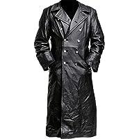 Aus Eshop German Classic Officer WW2 Military Uniform Black Leather Trench Coat