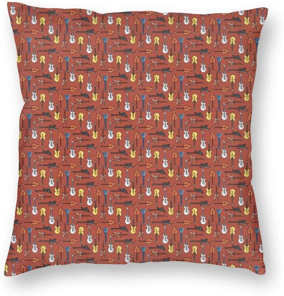 Fundas de almohada de lujo con fondo de Navidad para cojín decorativo, fundas de almohada cuadradas, suaves de 45,7 x 45,7 cm, Tela de terciopelo, Guitarra Eléctrica, 18
