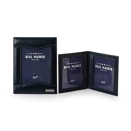 Real Madrid - Portarretratos con Set de 2 Portafotos y Hecho a Mano con Piel de Calidad Premium. Color Azul RMJ-80005: Amazon.es: Hogar