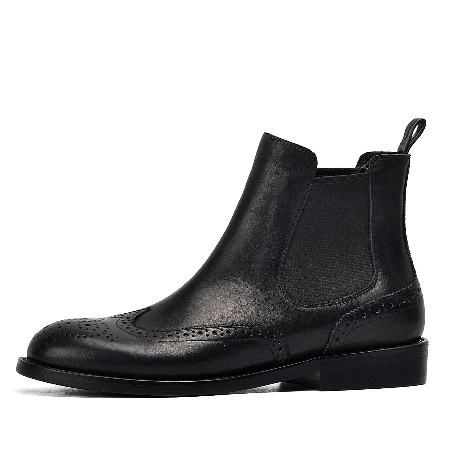 DONNAIN Women Ankle Boot Black Genuine Leather Wingtip Brogues Shoes Chelsea Boots Low Heel Booties For Spring B079BS8YTL 5.5 B(M) US Black