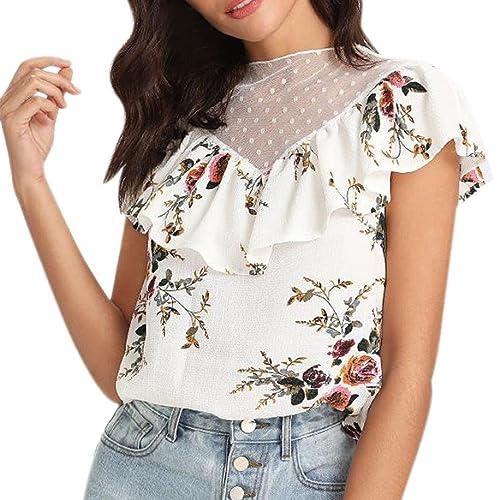 Damen Chiffon Spitze Blume Bluse Tunika Oberteil Schulterfrei Hemd Shirt Weiß