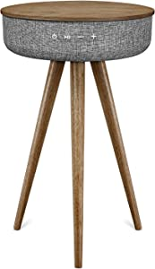 Victrola VS-140-WLN Bluetooth Wood Speaker Stand with Dual USB Ports, Farmhouse Walnut