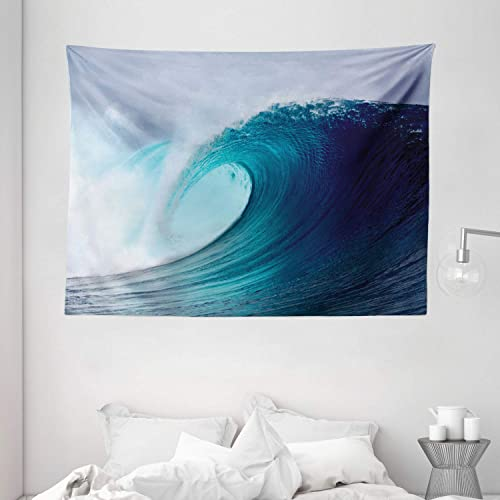 Ambesonne Ocean Tapestry, Tropical Surfing Huge Wave on a Windy Sea Indonesia Sumatra Picture Print, Wide Wall Hanging for Bedroom Living Room Dorm, 80 X 60 , White Blue