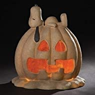"Roman 18"" Beige and Stone Finish Orange Snoopy Jack-O-Lantern Halloween Decoration"