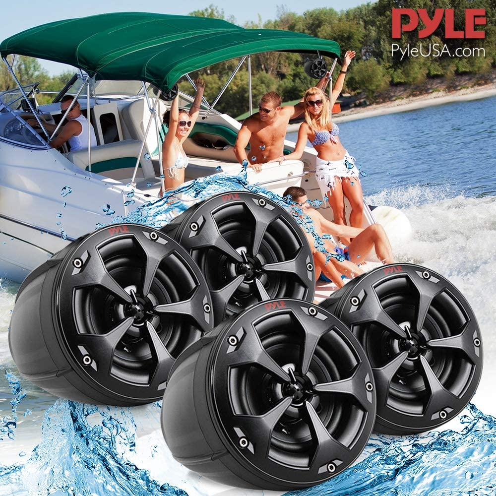 Boat Pyle PLUTV44CH Jeep 4Inch 1500W 4-Channel Marine Grade Wakeboard Tower Speakers System Full Range Outdoor Audio Stereo Speaker for ATV Quad Waterproof Off-Road Speakers with Amplifier UTV