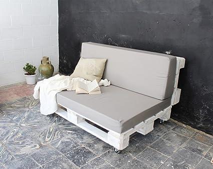 REMAKED Sofa Palet 120X95 Blanco (Incluye Ruedas y Colchonetas)