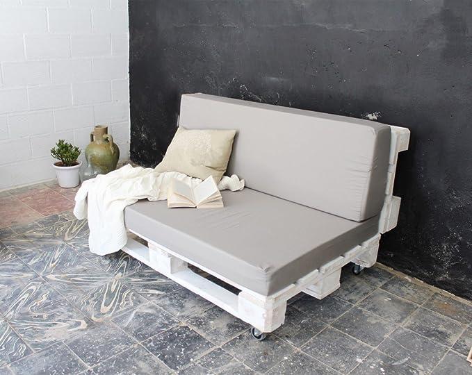 REMAKED Sofa Palet 120X95 Blanco (Incluye Ruedas y Colchonetas): Amazon.es: Hogar