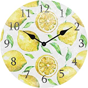 ATEDEANEI Silent Decorative Non-Ticking Wall Clock Lemon Wooden 10 Inch Wall Decor Battery Operated for Bedroom Living Room Kitchen Frameless
