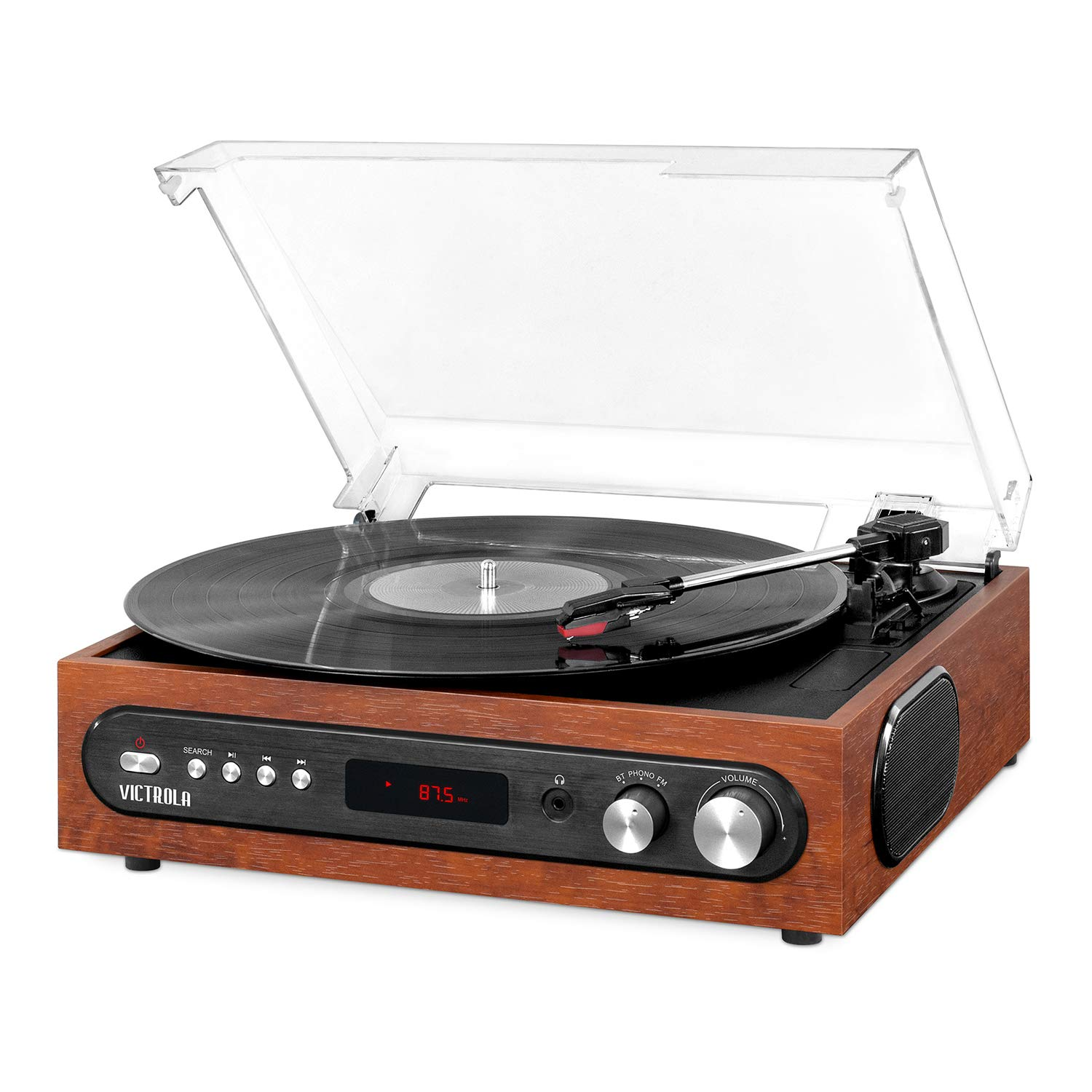 Victrola All-in-1 Bluetooth Record Player with Built in Speakers and 3-Speed Turntable Mahogany (VTA-65-MAH) by Victrola