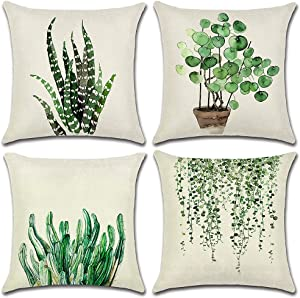 Artscope Set of 4 Decorative Throw Pillow Covers 18x18 Inches, Green Leaf Waterproof Cushion Covers, Perfect to Outdoor Patio Garden Living Room Sofa Farmhouse Decor