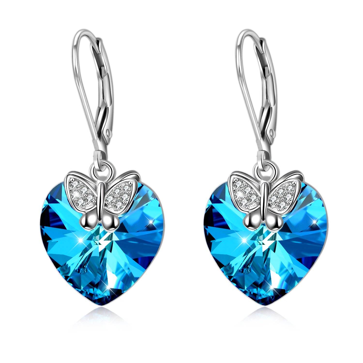 Butterfly Leverback Women Dangle Drop Earrings 925 Sterling Silver with Swarovski Blue Love Heart Crystals Jewelry Gifts for Her