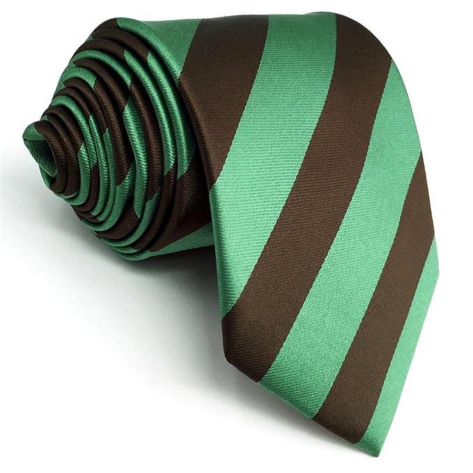 shlax&wing La Moda Hombre Seda Corbatas Para Marrón Verde Rayas ...