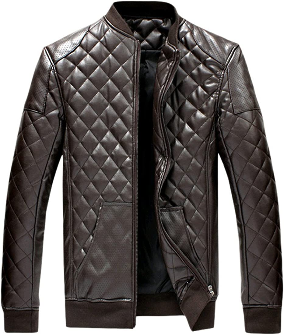 K3K New Mens Fall Winter PU Leather Fashion Stand Collar Slim-fit Warm Coat