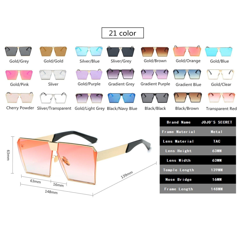 JOJO'S SECRET Oversized Square Sunglasses Metal Frame Flat Top Sunglasses JS009 (Gold/Transparent red, 2.48) by JOJO'S SECRET (Image #6)