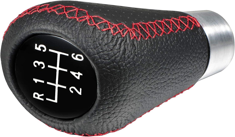 Semoss Coche Pomos para Palanca de Coche Piel 6 Velocidades Manual Cambio de Marchas con 3 Adaptadores,Rojo Costura