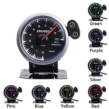 7 Colores 60mm medidor de presión de Aceite medidor Sensor ...