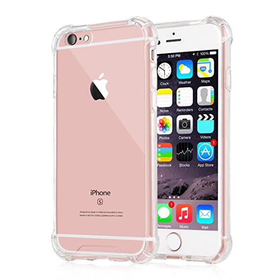 wholesale dealer 2a92e ac656 iPhone 6 Plus / 6s Plus Case, iXCC Crystal Cover Case [Shock Absorption]  with Transparent Hard Plastic Back Plate and Soft TPU Gel Bumper - Clear