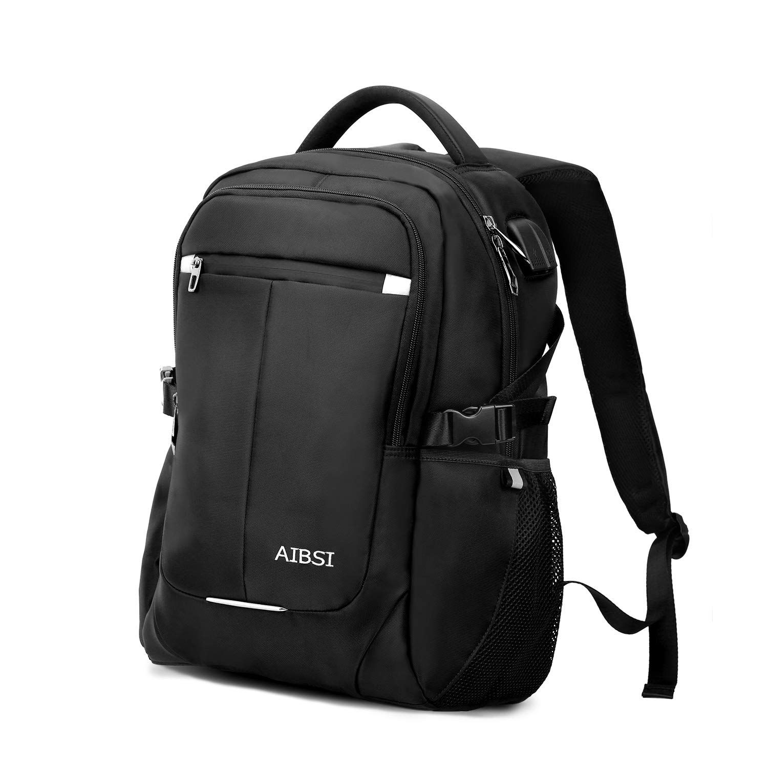 Laptop Backpack, AIBSI Anti Theft Business Backpack for Women & Men, Slim Durable Travel Computer Bag, Waterproof College School Bookbag with USB Charging Port Fits 15.6 Inch Laptop Notebook - Black