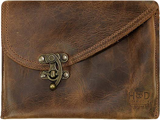 Personalize leather envelope wallet Leather envelope clutch dark brown Handstitch leather clutch Cash envelope wallet Envelope clutch purse