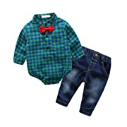 Tnyker Baby Boy Outfit, Toddler Clothing Set Children Jeans + Romper Shirt With Bow Tie (80(6-12 Month), Green)