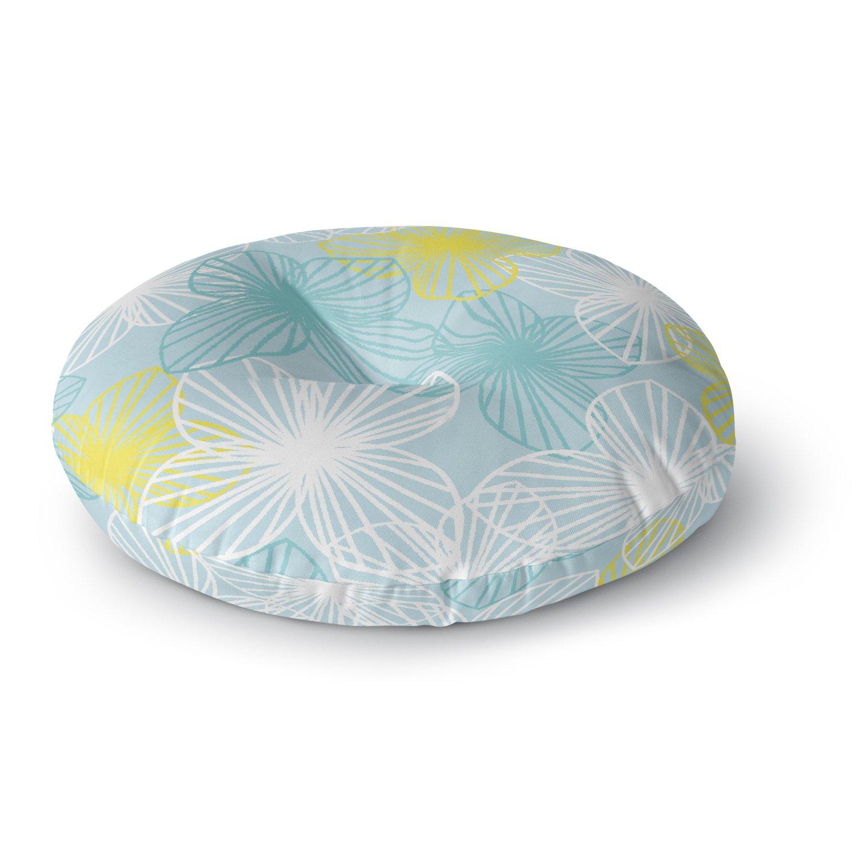 Kess InHouse Emine Ortega Aqua Sunshine Blue Teal Square Floor Pillow 23 x 23